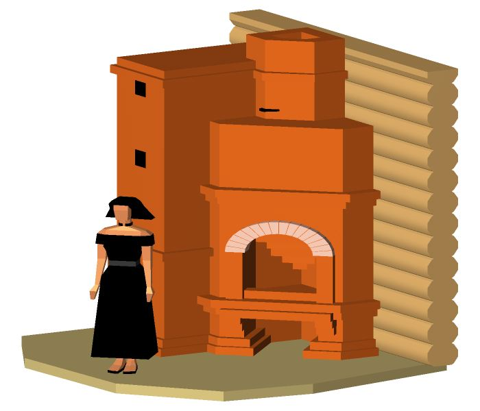 The oven cooking with a corner fireplace