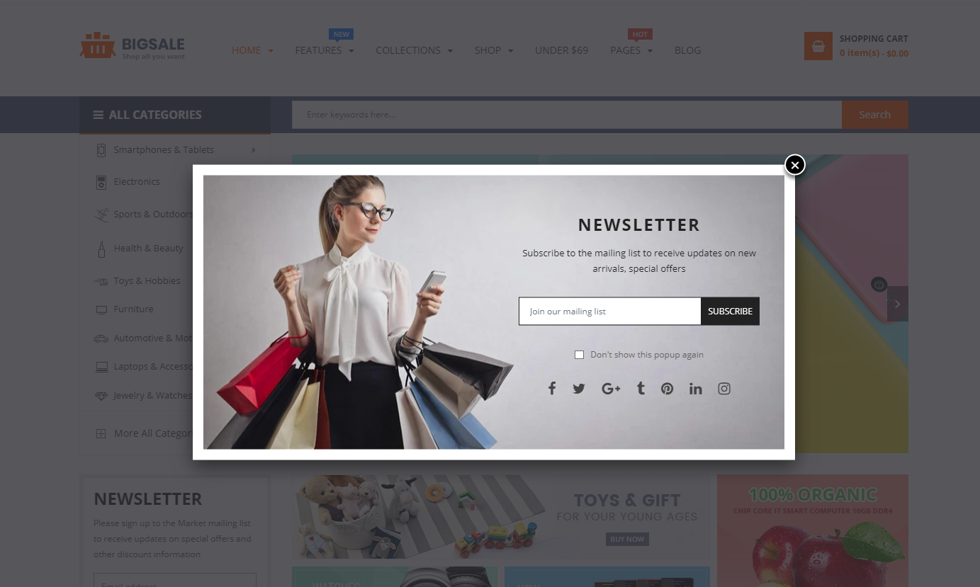 Template for online store BigSale