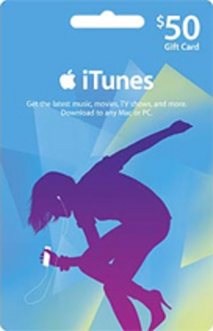 50$ iTunes Gift Card (USA) со Скретч Карты+БОНУС 10 %