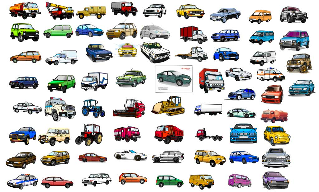 cars vector clipart, detailed drawing