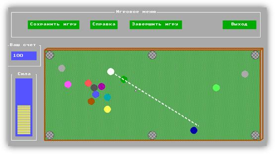 Coursework simulation game of billiards «Billiards»