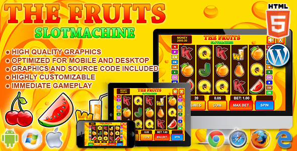 ACTION!!! NEW!!! Slot machine Fruits (HTML5 / JS)