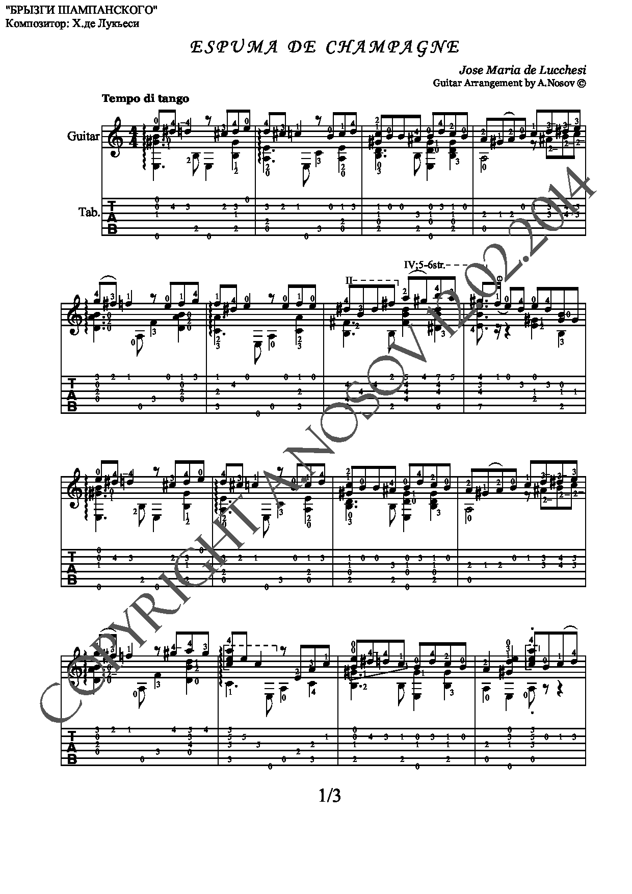 Espuma de Champagne (Sheet music and tabs for guitar)