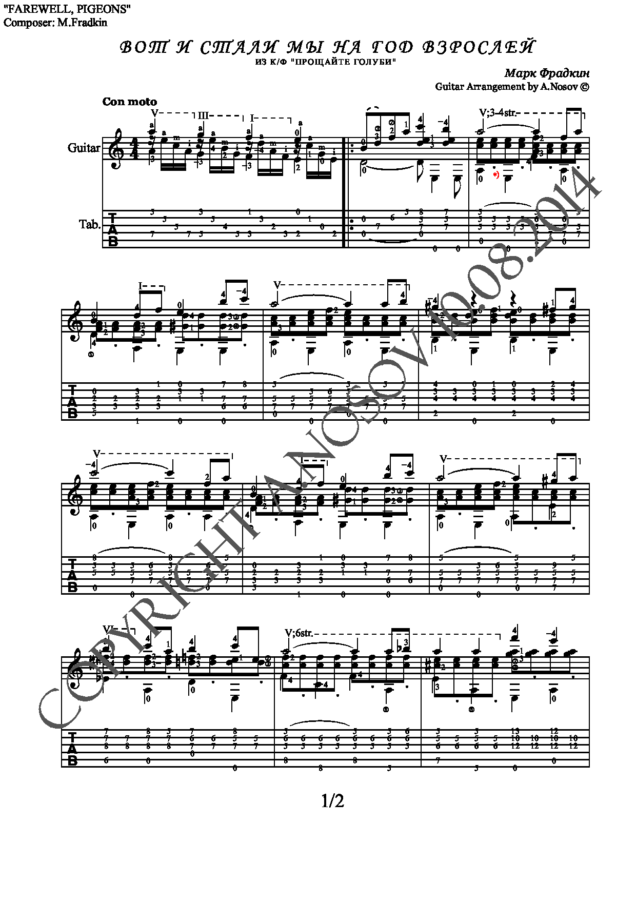Farewell Pigeons (Sheet music and tabs for guitar solo)