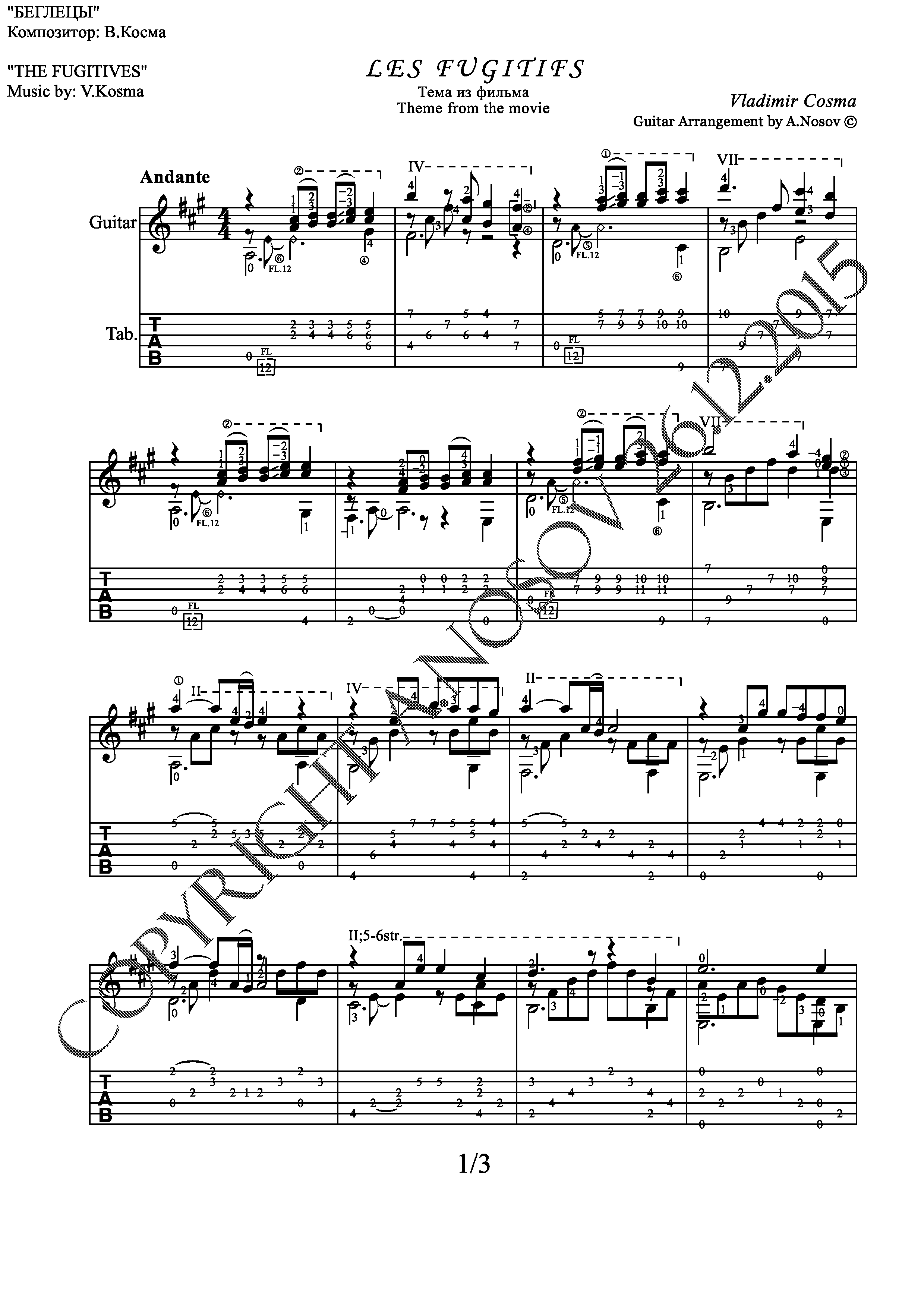 "Theme from the movie ""The Fugitives"" (Sheet music Guit)"