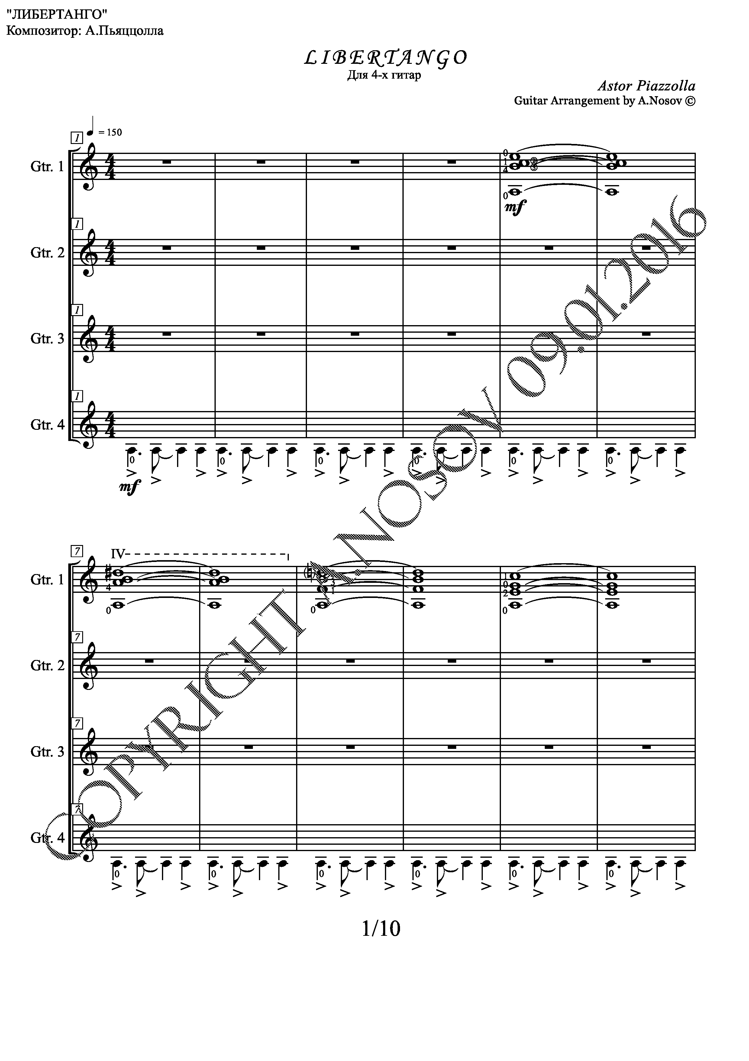Libertango (Sheet music for 4 guitars)