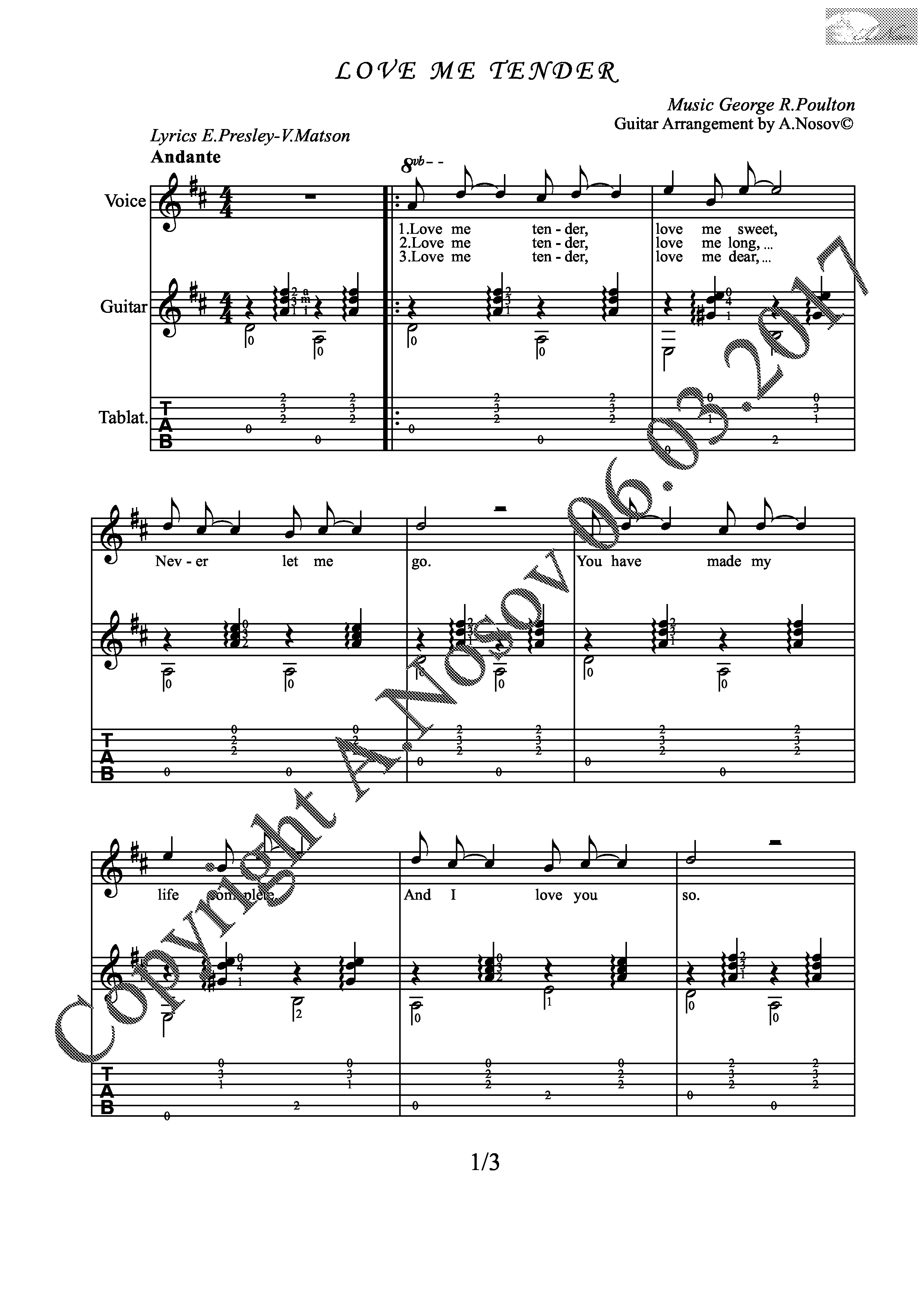Love Me Tender (Sheet music for vocals and guitar)