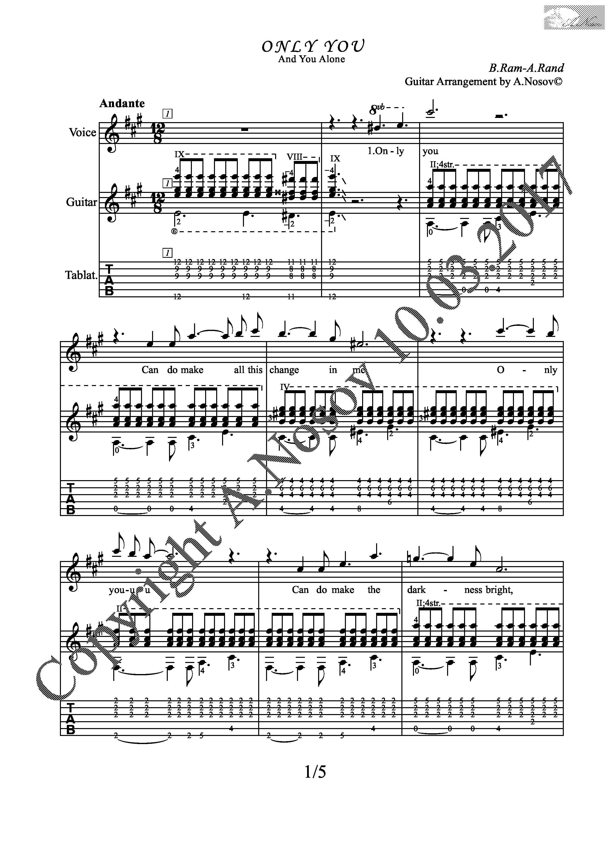 Only You (Sheet music for vocals and guitar)