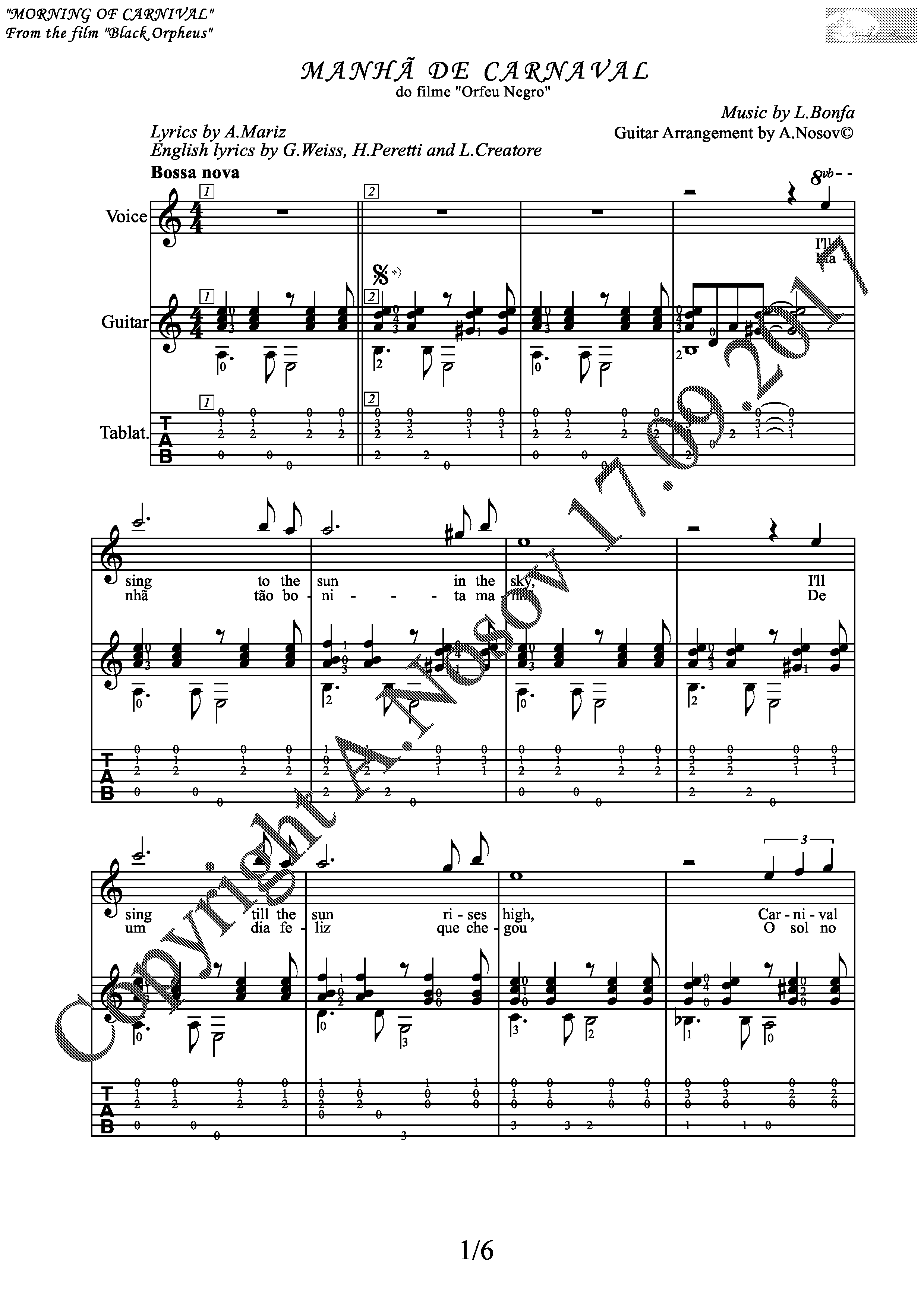 Morning of Carnival (Songs Sheet Music Guitar Tabs)