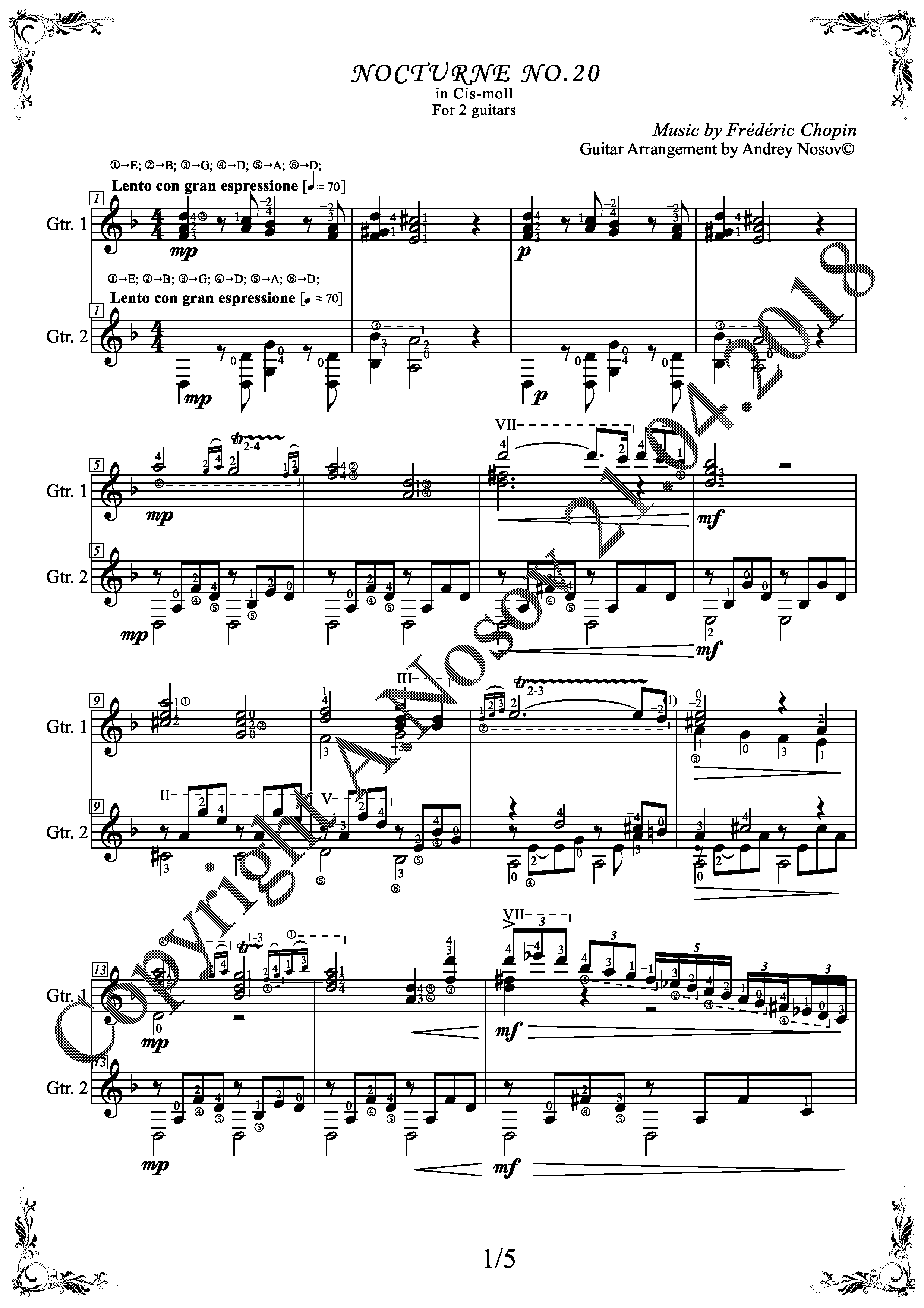 F.Chopin_Nocturne No.20 (Sheet Music for 2 guitars)