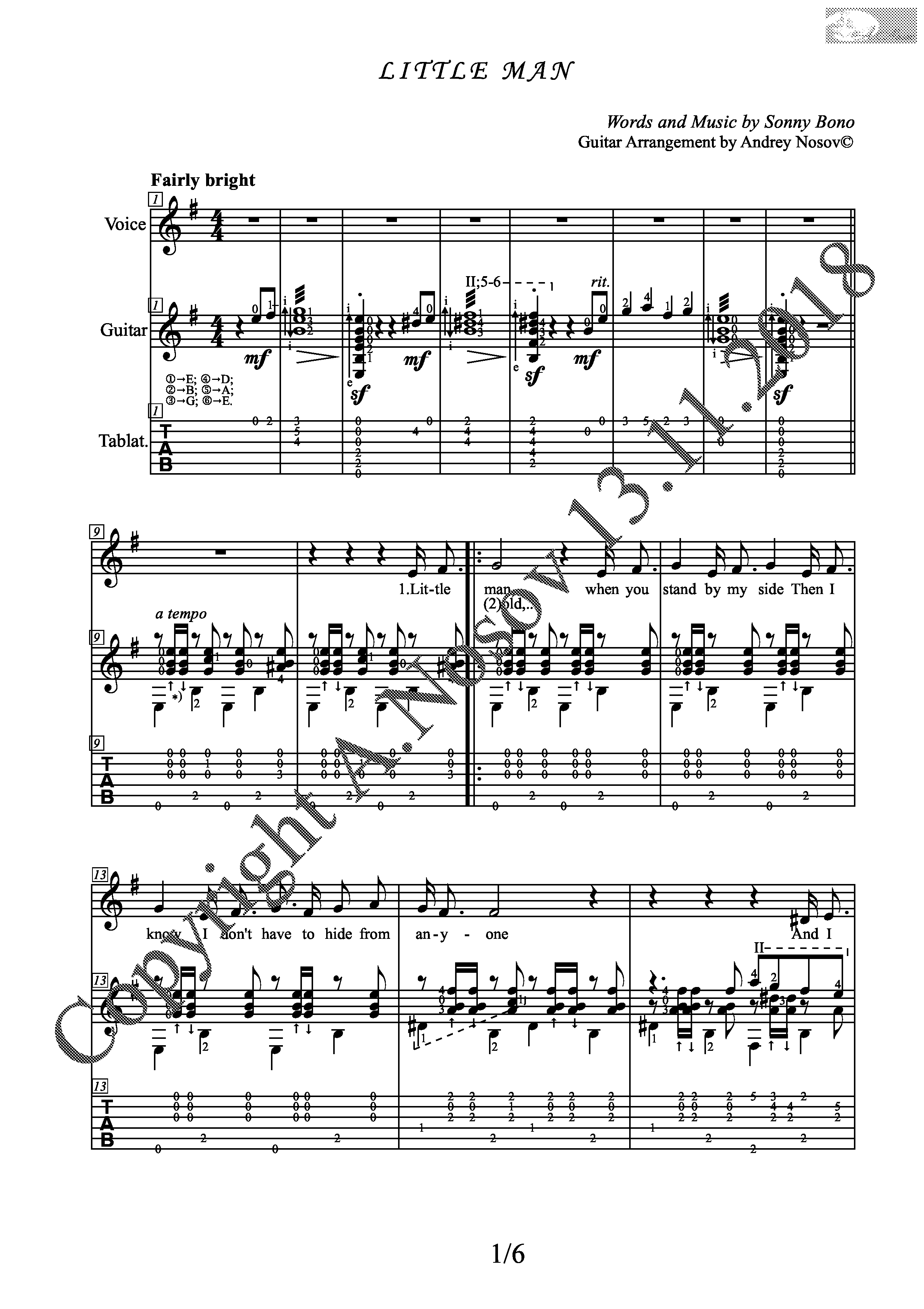 Little Man (Songs Sheet Music Guitar Tabs)