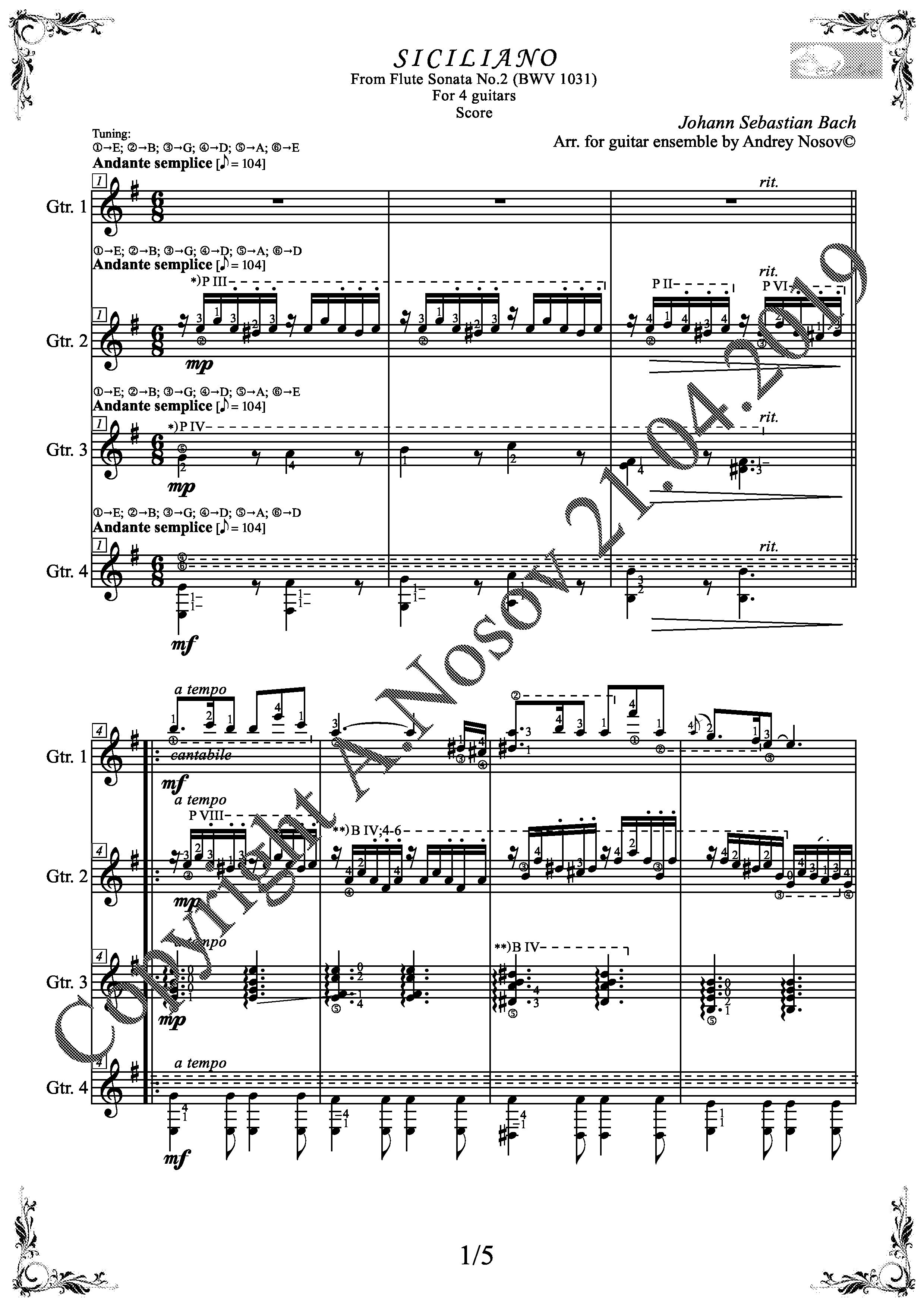 Siciliano_J.S.Bach (Sheet Music for 4 guitars)