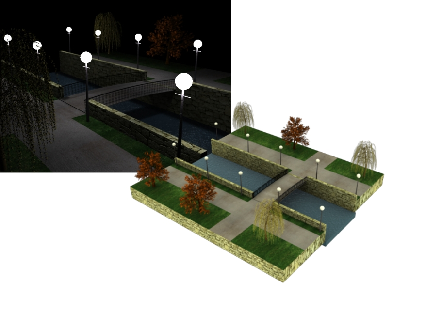 3D model of the bridge with flashlights