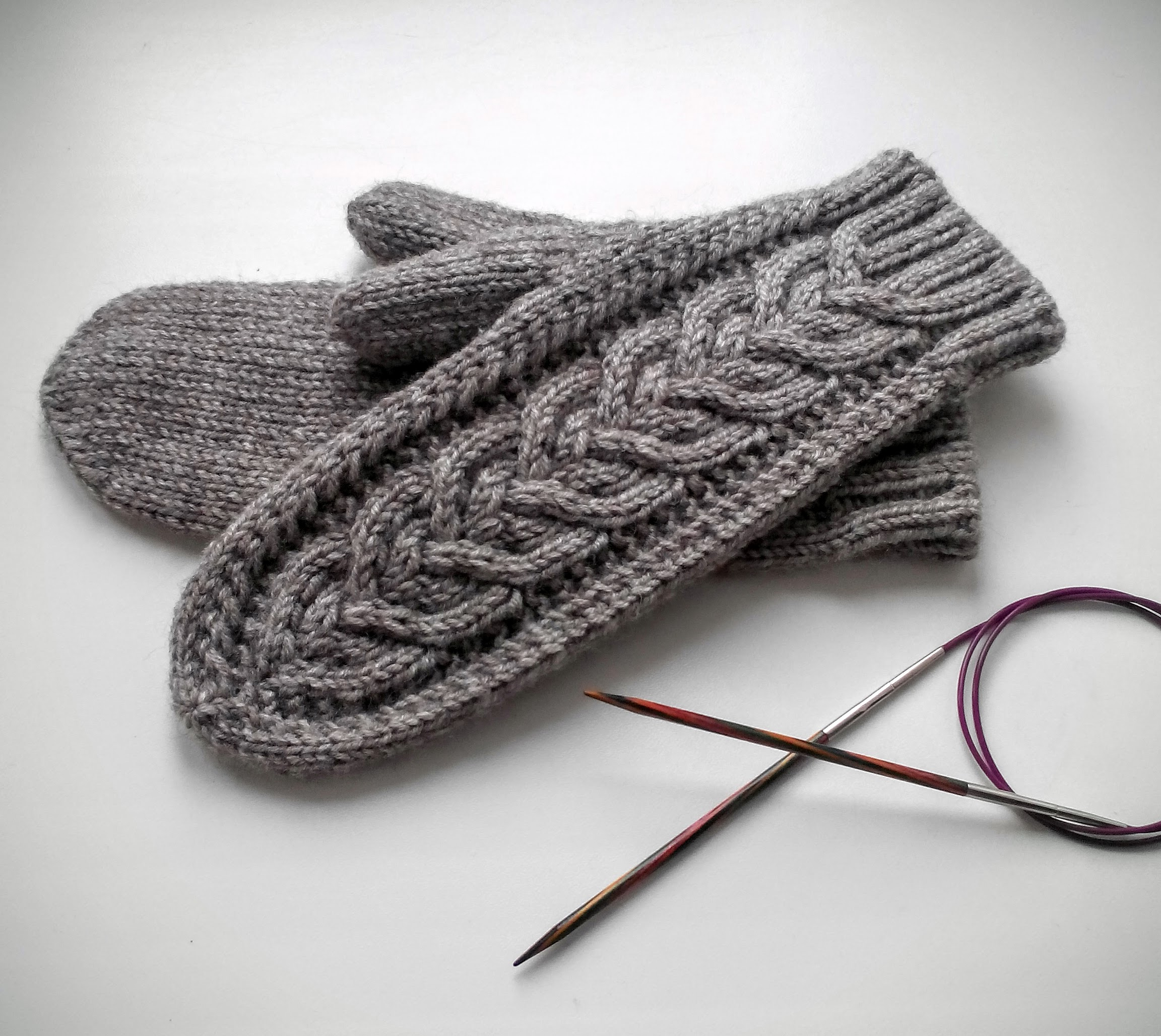2 mittens on circular needles