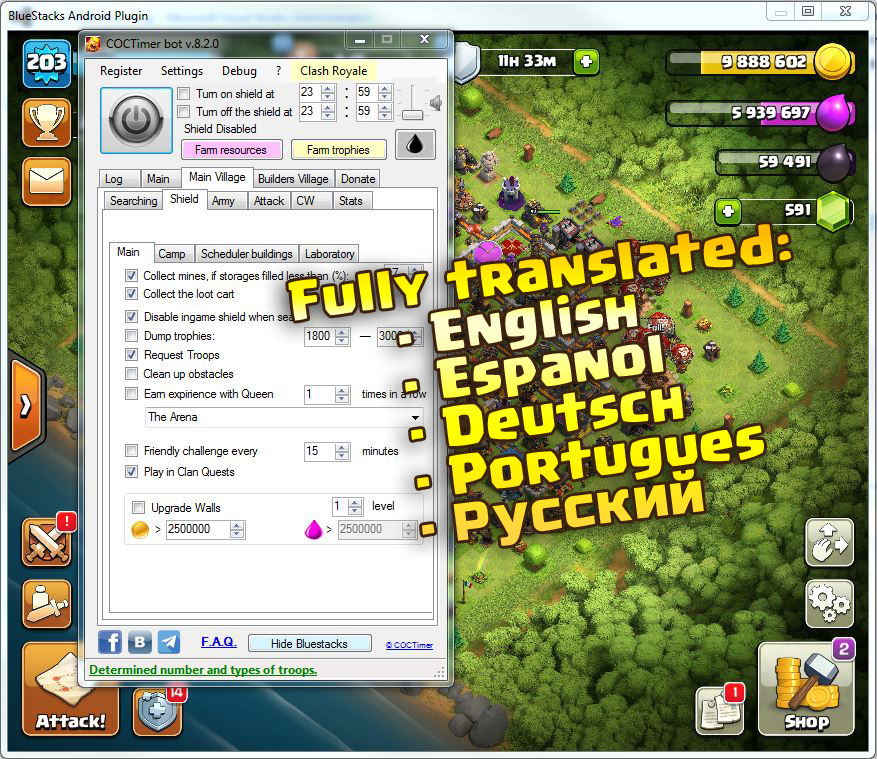 Autofarm bot COCTimer for Clash of Clans FOREVER key
