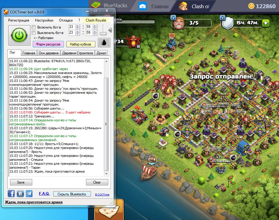 Bot autofarm COCTimer for Clash of Clans for 6 months