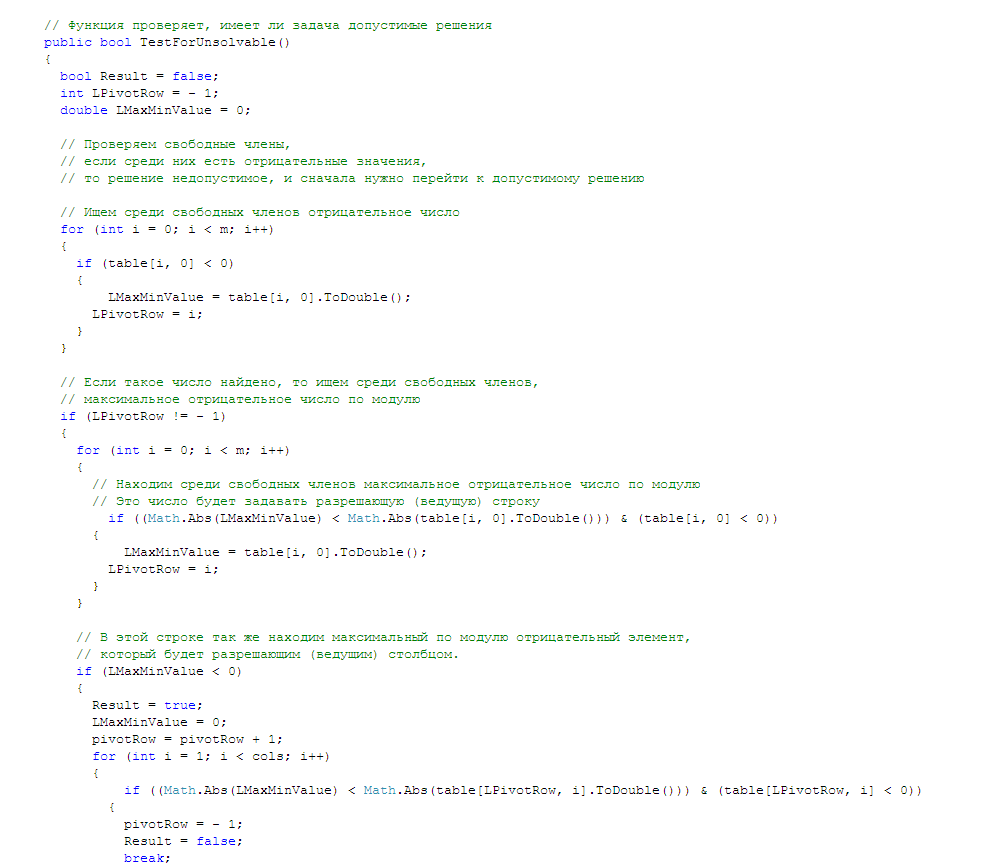 Gomory method. Coursework and sources. C #.