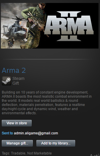 Arma 2 Steam Gift ROW