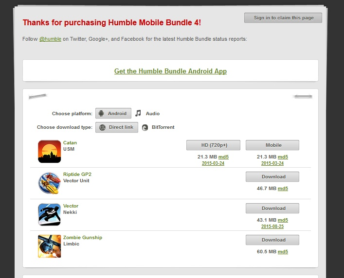 Humble Mobile Bundle 4 ( humblebundle region free )