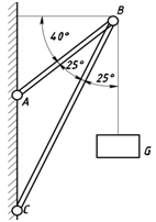 The load G is held in balance by means of two rods AB a