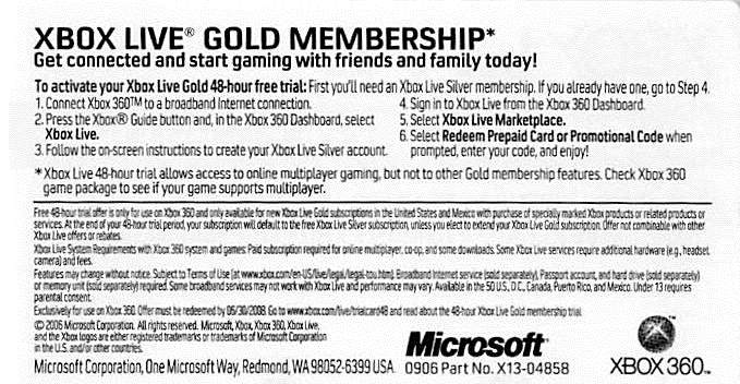 XBOX LIVE GOLD Trial - 48 hours. WORLDWIDE