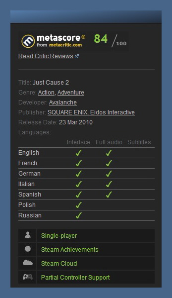 Just Cause 2 (Steam Gift / Region Free)+Multiplayer Mod