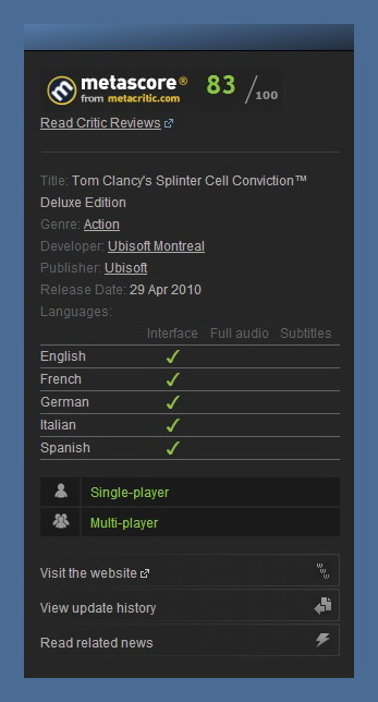 Tom Clancys Splinter Cell Conviction Deluxe STEAM GIFT