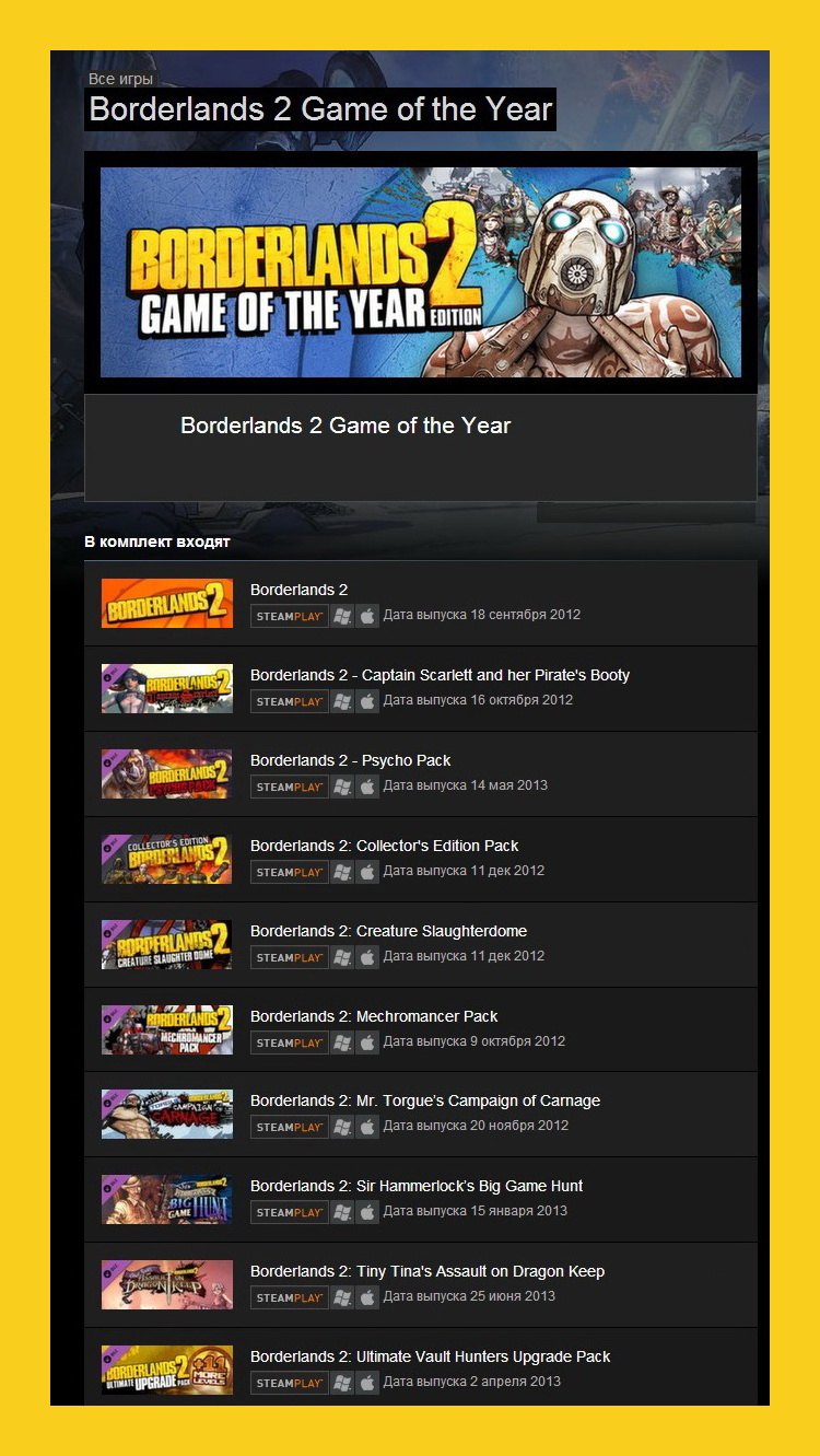 Borderlands 2 Game of the Year GOTY (Steam Gift ROW)