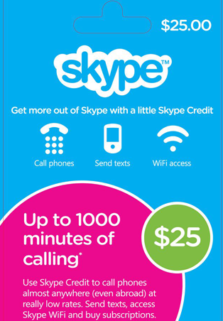 Skype Gift Card $25 USD + DISCOUNTS