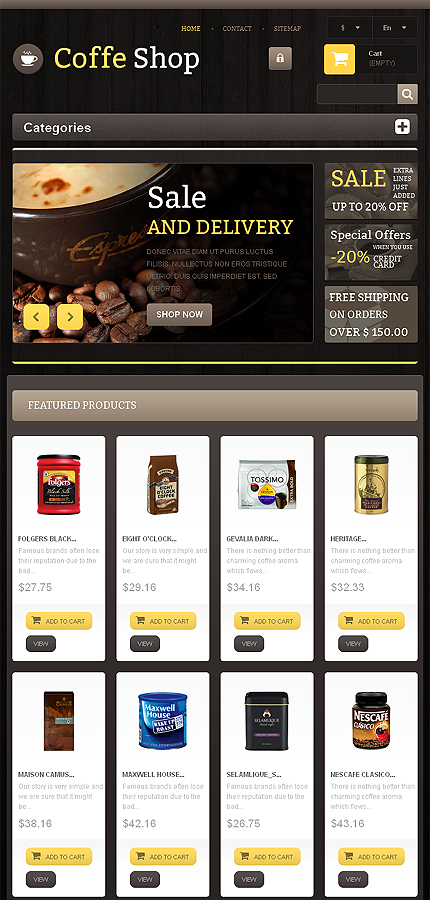 Шаблон интернет-магазина Responsive Coffee Shop