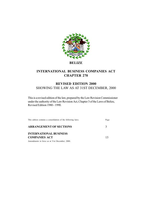 Translation of the Companies Act of Belize