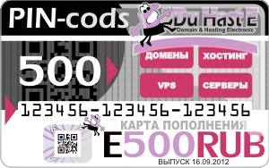 500 rub card replenishment and payment of domain hosting, VPS