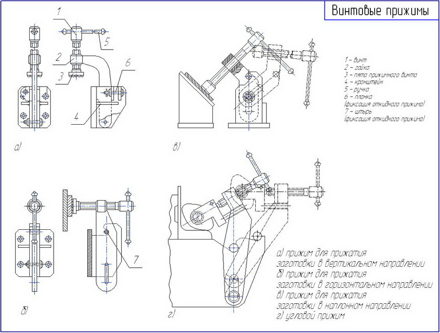 Drawing of screw clamps