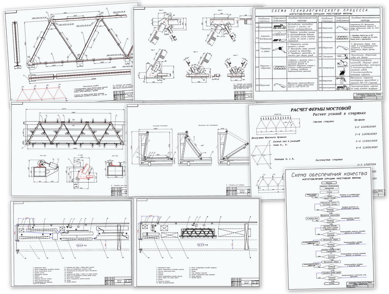 Diploma. Assembling and welding of the bridge truss.