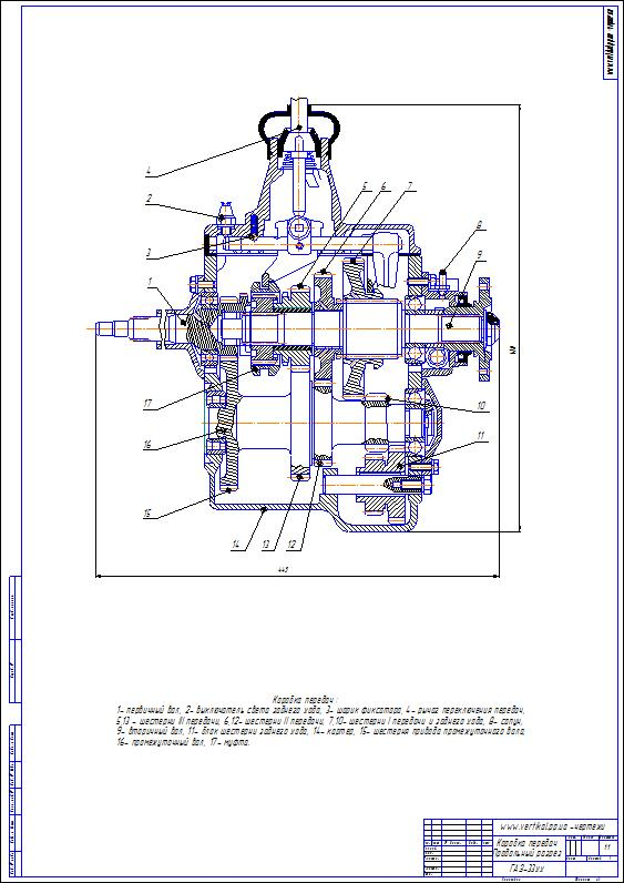 Drawing gearbox GAZ 53, 33