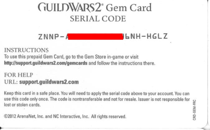 Guild Wars 2 Gem Card 2000 (SCAN / SCAN) + DISCOUNTS