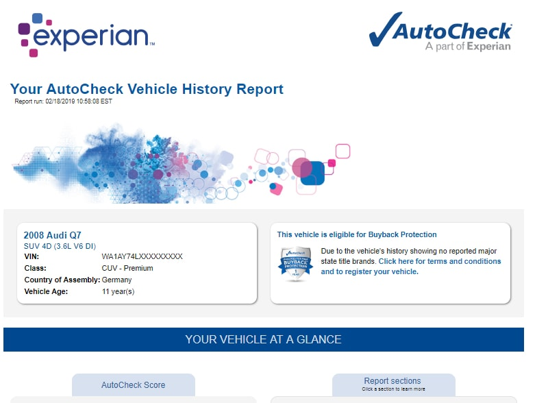 AutoCheck Vehicle History Full Report 2019