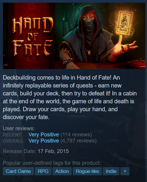 Hand of Fate STEAM KEY ROW/Region Free/BONUS