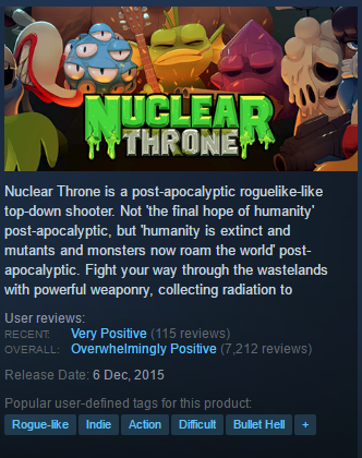 Nuclear Throne STEAM KEY ROW/Region Free/BONUS