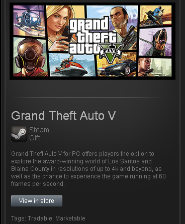 GTA 5 - STEAM Gift - Region Free/ROW/GLOBAL/tradable