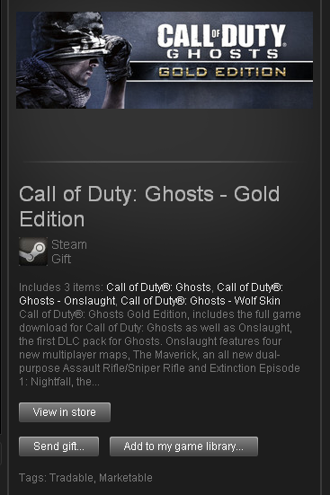 Call of Duty Ghosts Gold Edition - STEAM - ROW / free