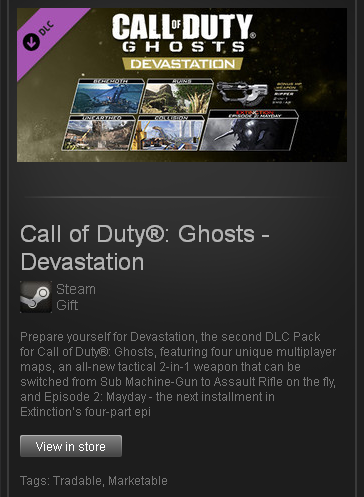 Call of Duty: Ghosts - Devastation - STEAM ROW / free