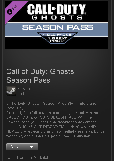 Call of Duty: Ghosts - Season Pass (ROW) - STEAM Gift
