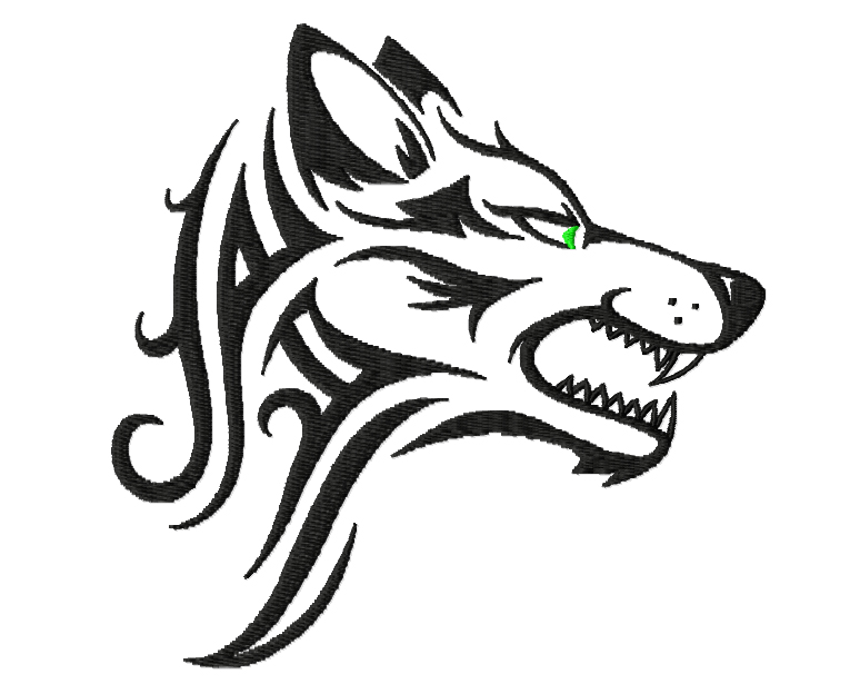 Design for the embroidery machine, wolf-tattoo. 13x12мм