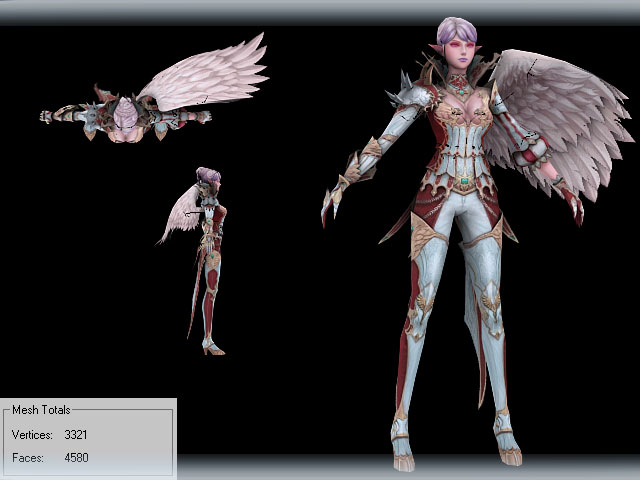 3D model of Lineage 2 Kamael - woman - Dynasty Armor