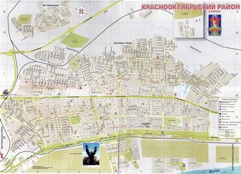 Detailed map of Dzerzhinsky district of Volgograd.