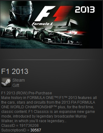 F1 2013 (Steam Gift Region Free) (ROW)