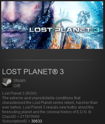 Lost Planet 3 (Steam Gift ROW / Region Free)