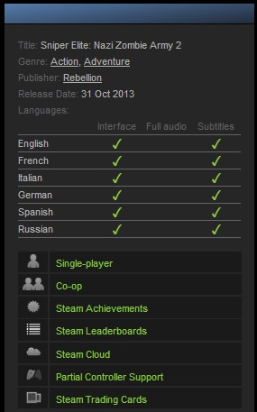 Sniper Elite Nazi Zombie Army 2 (ROW) - (Steam account)