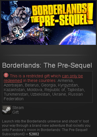 Borderlands The Pre-Sequel Steam RU+CIS